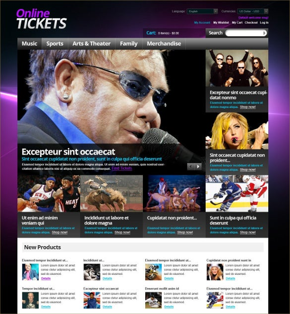 tickets to various events magento theme