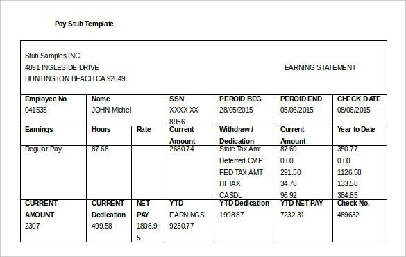 21 Pay Stub Templates Free Samples Examples Formats Download – Free Paycheck Stub Template Word