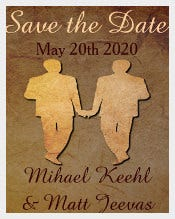 Dark Rustic Save the Date Card Gay Wedding Invitation Template