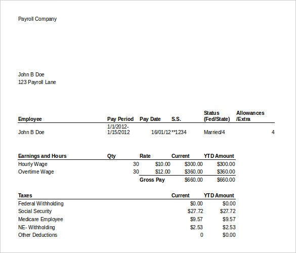 21 Pay Stub Templates Free Samples Examples Formats Download – Payroll Template