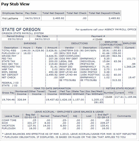 Example Pay Stub Kleobeachfixco - Direct deposit pay stub template