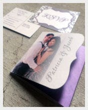 Die Cut Tri Fold Wedding Invitation in Purple and Silver