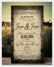 Vintage Second Wedding Invitation Download Template