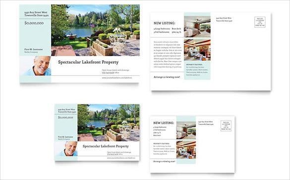 simple beautiful lakefront property postcard template