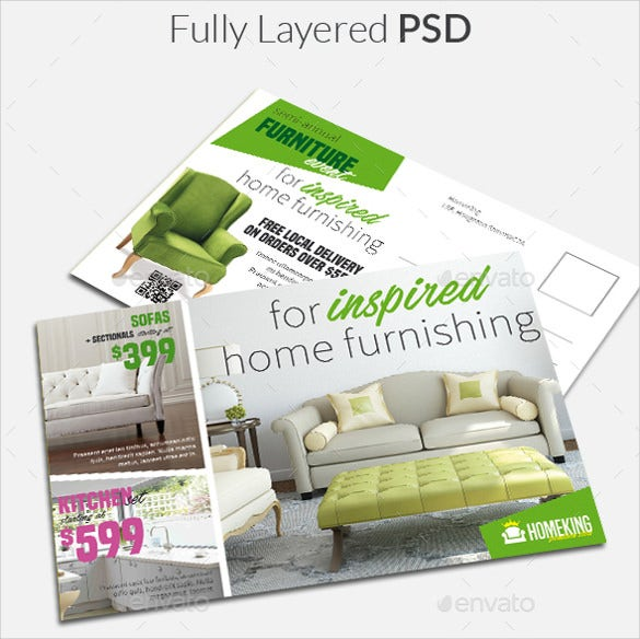 home furnishings realtor postcard template