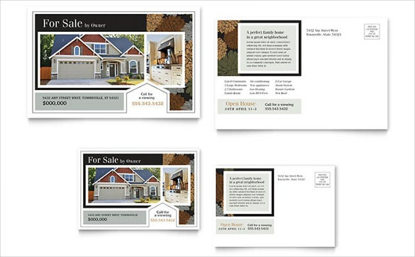 suburban real estate postcard template1