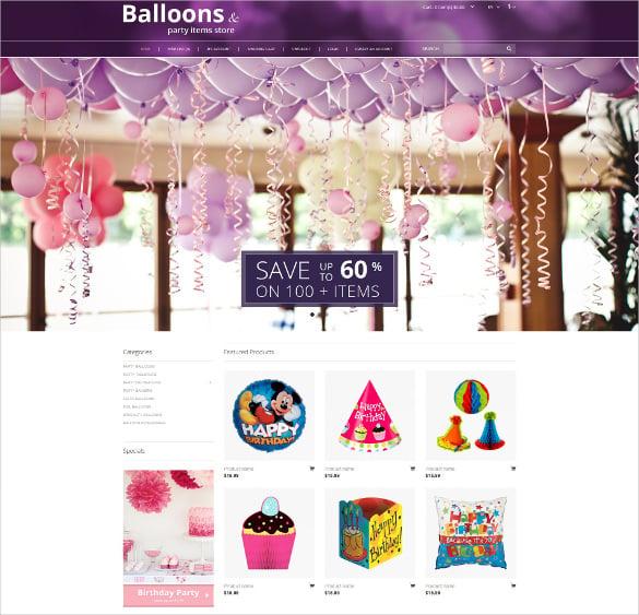 balloons party evenet stuff opencart template