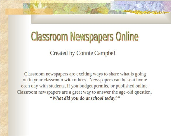 imagespcmacorg this classroom newspaper template has a classic powerpoint background with a floral design most schools publish their newspapers online