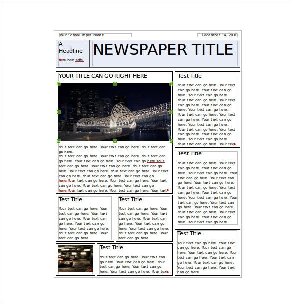 8 classroom newspaper templates free sample example for Free newspaper template