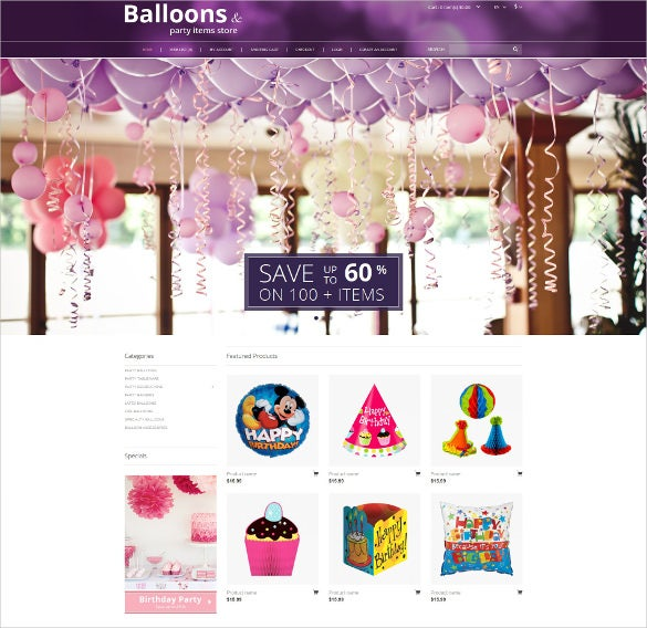 balloons and party event stuff opencart bootstrap template
