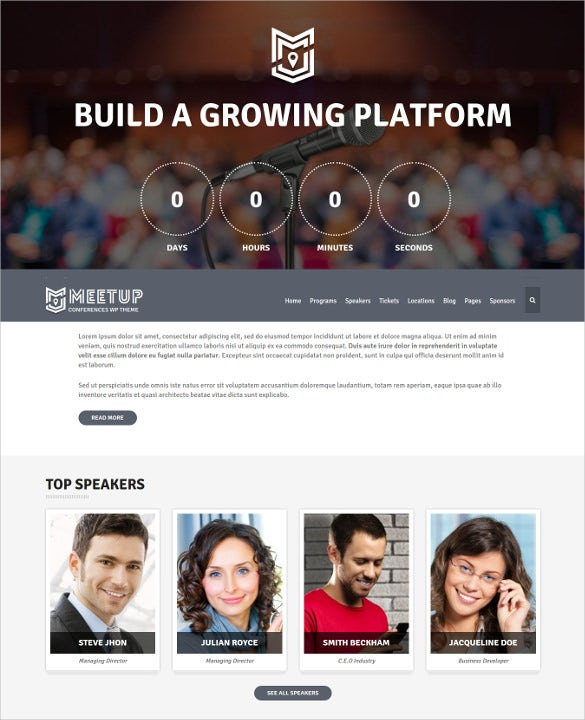 business conference event bootstrap wordpress theme