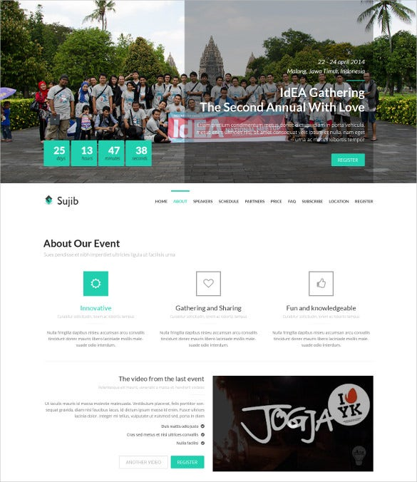 event landing page html bootstrap template