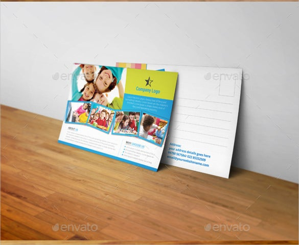 kids school postcard template