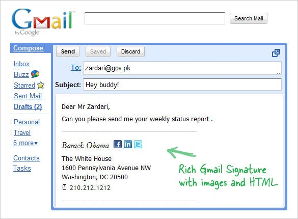html signature for gmail free