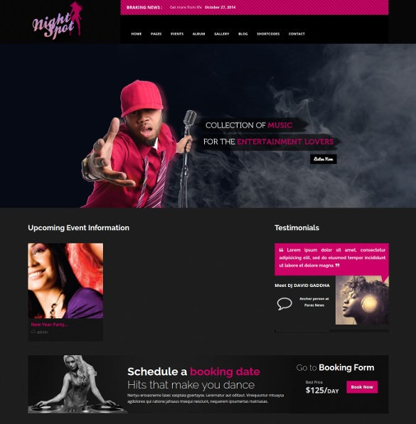 night club event responsive wordpress bootstrap theme