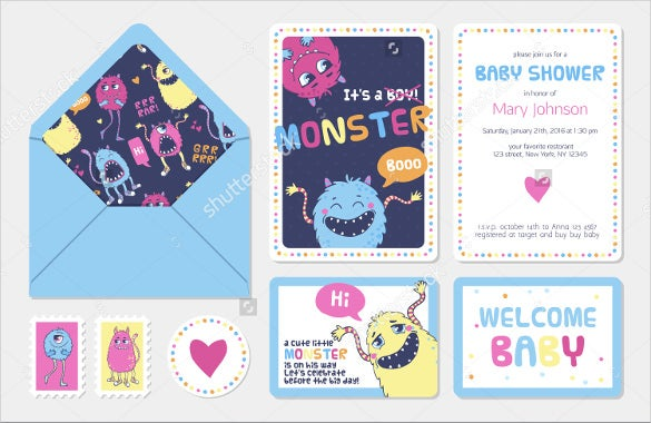 kids postcard template in monster collection