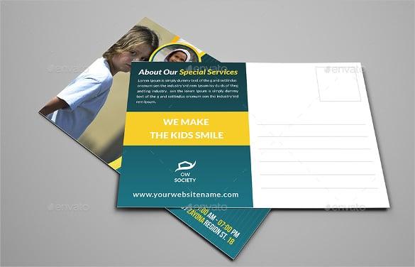 kids charity postcard template psd