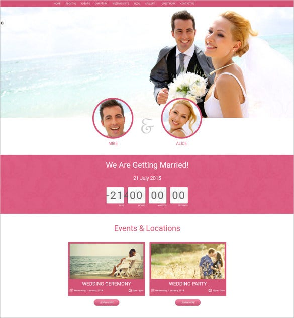 wedding event bootstrap website template