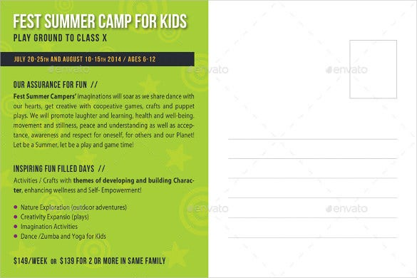 kids summer camp postcard template psd download1