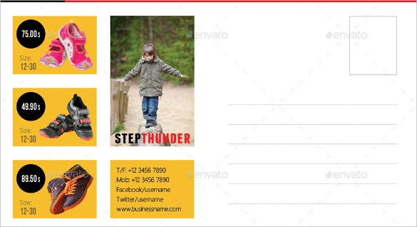 postcard template for kids shoes