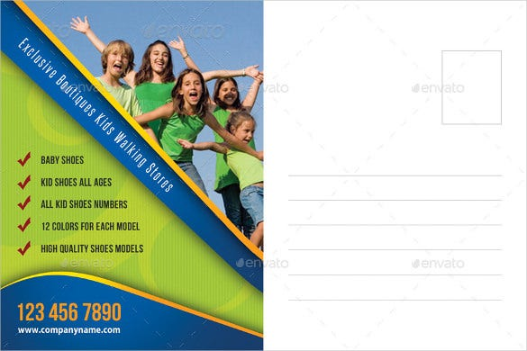 kids postcard template for sports shoes
