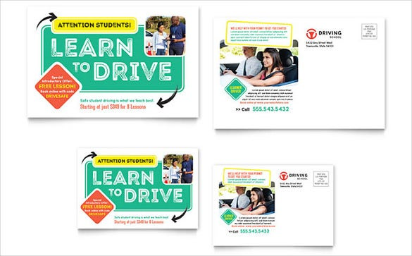 driving school marketing postcard template