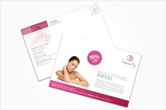 beauty studio marketing postcard