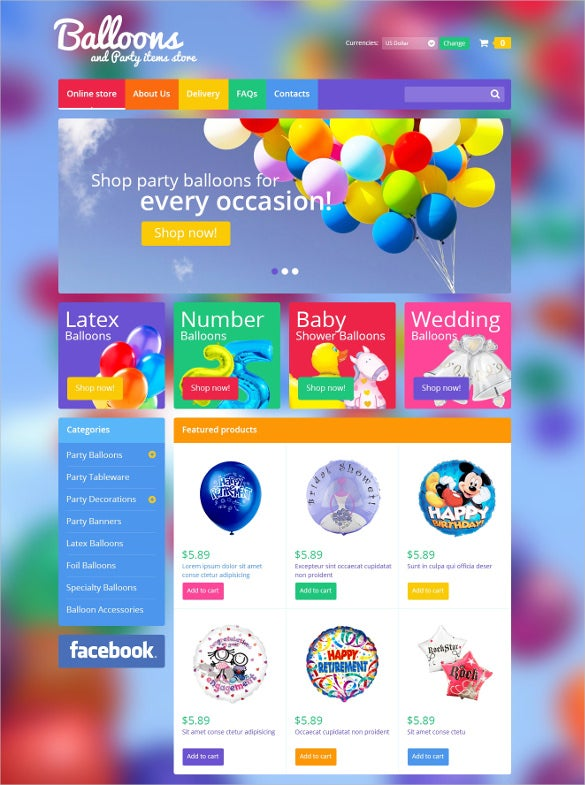 balloons party event items virtuemart html5 theme