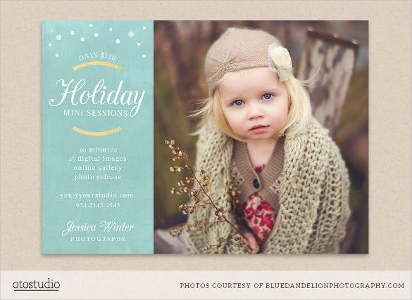 holiday mini session marketing postcard flyer