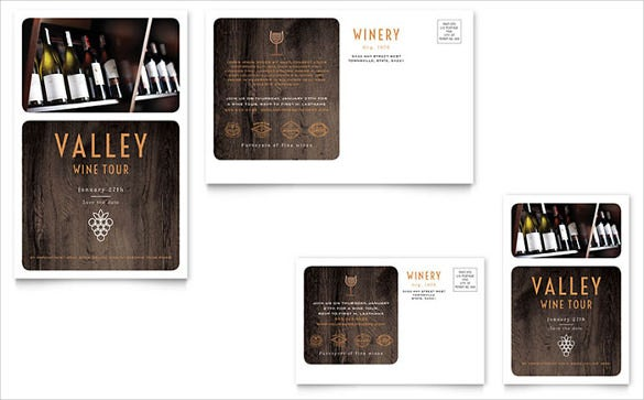 winery marketing postcard template