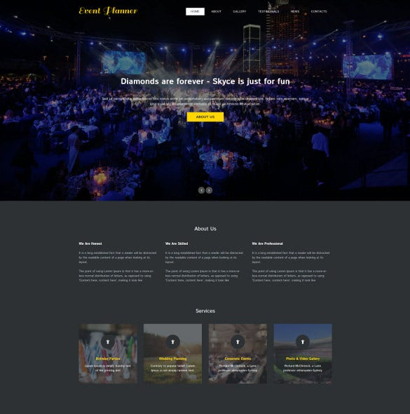 event planner one page html5 theme