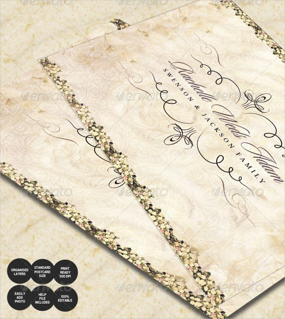 Wedding Postcard Templates  Free Sample Example Format