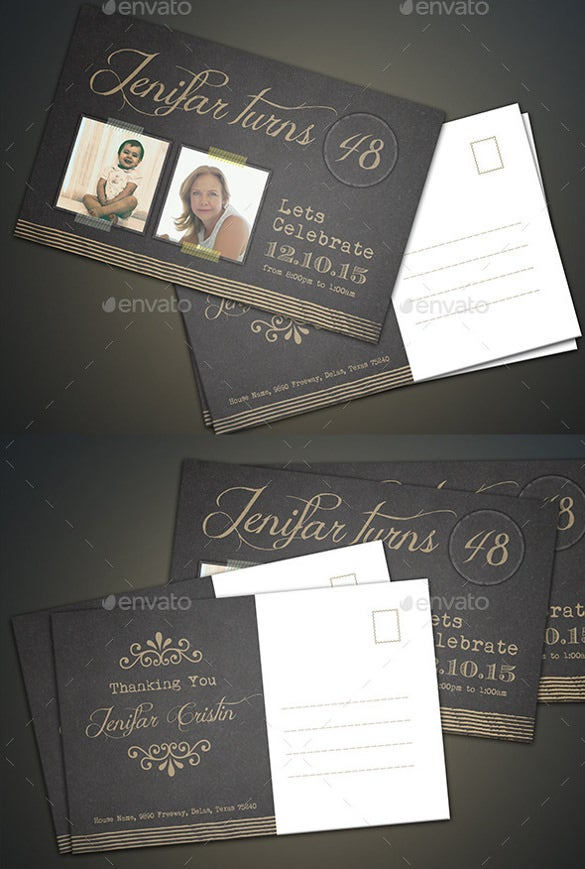 couple birthday postcard template download