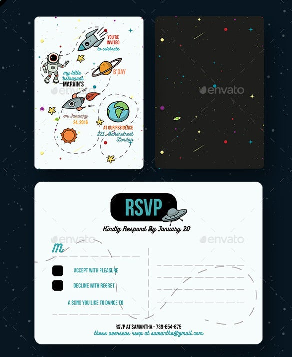 space themed birthday postcard template download