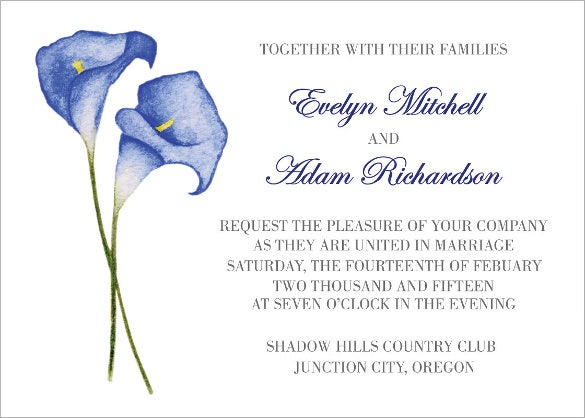 beatuiful blue calla lilies wedding invitation