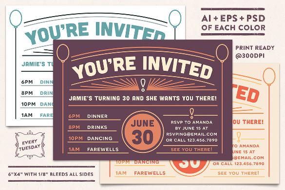 set of 3 editable birthday invitation postcard
