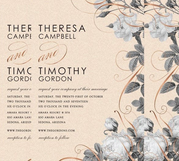 beautifully floral wedding invitation