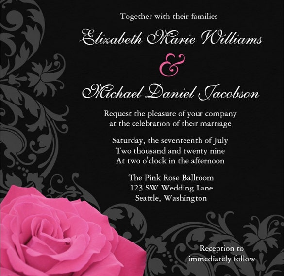 beautiful pink rose wedding invitation