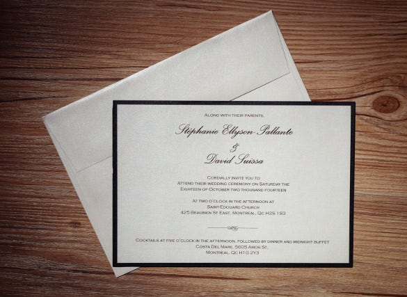simple white and black wedding invitation
