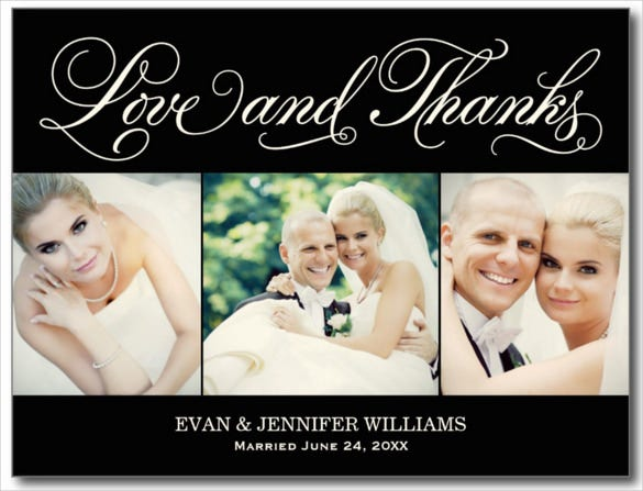 love and thanks wedding postcard template