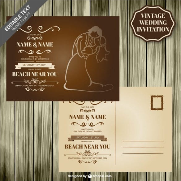wood design retro wedding card