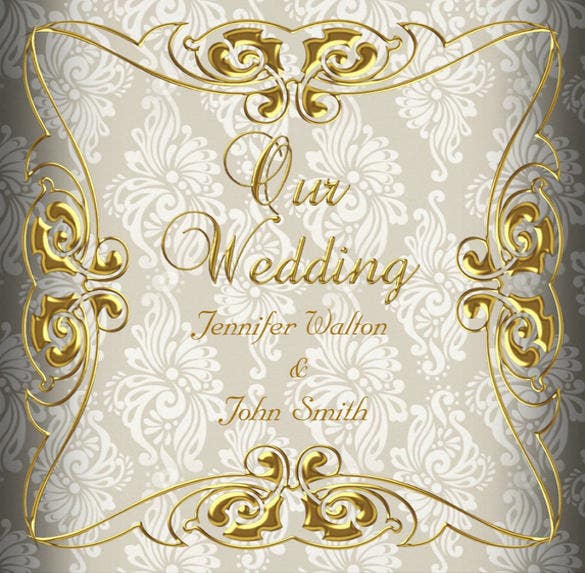 best gold damask wedding invitation