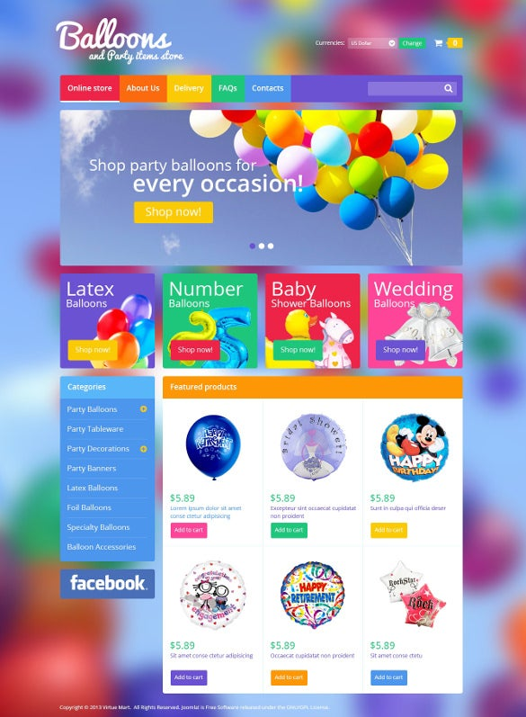 balloons party event items virtuemart php theme