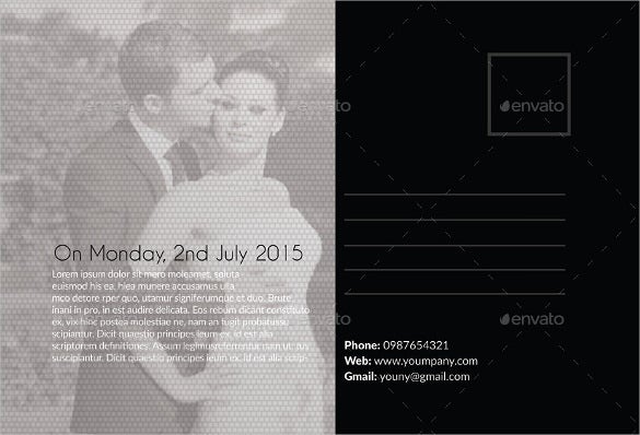 black white coloured wedding postcard