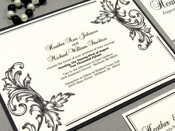 filigree wedding invitation suite