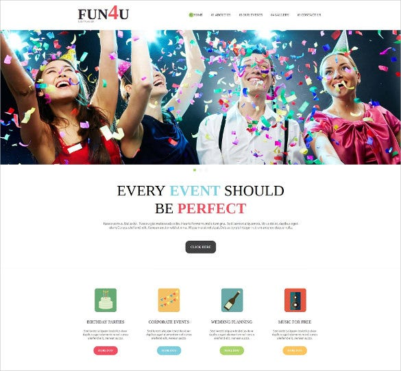 party event planner moto cms html php template