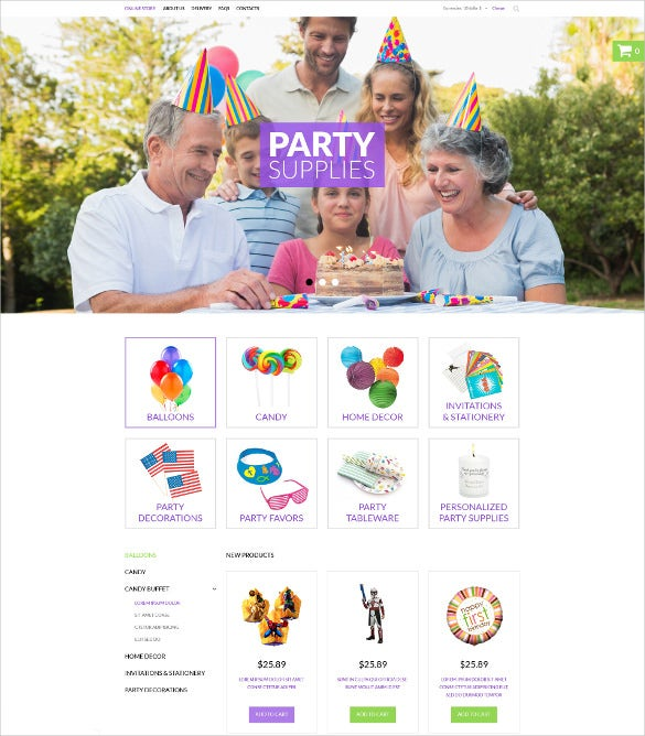party event items virtuemart php template