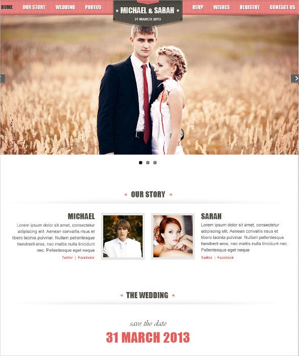 one page responsive wedding event php template