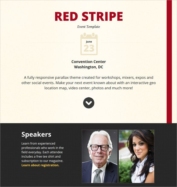 responsive parallax event site php template