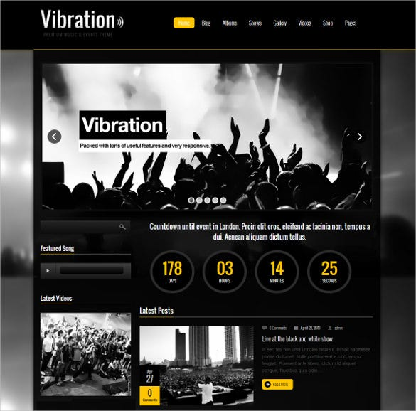 responsive music events php theme